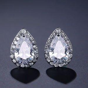 Pear Shape Earrings. 18k white gold plated
